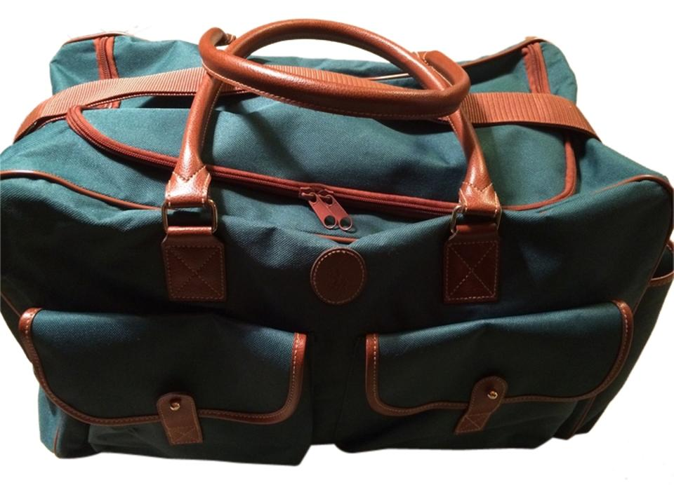 Ralph Lauren Large Duffle Green   Brown Canvas Weekend Travel Bag ... 57052c9ba1cdf