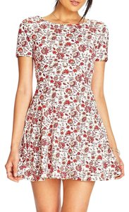 Topshop short dress Ivory, Red Skater Paisley Floral on Tradesy