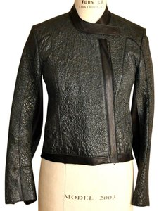Helmut Lang Graphite Green/Black Leather Jacket