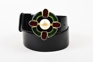 Chanel Chanel Black Green Red Patent Leather Gripoix Faux Pearl Belt 80