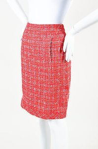 Chanel 06p Red White Skirt Multi-Color