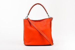 Fendi Selleria Bright Pebbled Leather Anna Bucket Satchel in Red