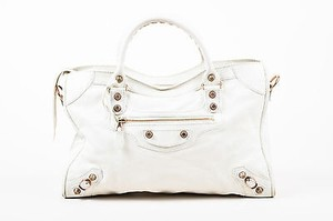 Balenciaga Lambskin Satchel in White