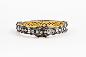 Other Sterling Silver Gold Plated White Sapphire Embellished Hinged Bangle Bracelet