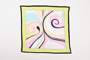 Emilio Pucci Emilio Pucci Light Green Multicolor Abstract Printed Scarf