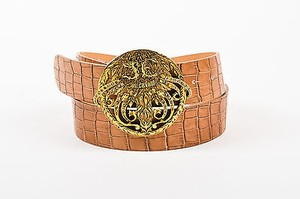 Just Cavalli Just Cavalli Brown Leather Croc Embossed Crystal Encrusted Buckle Belt 95