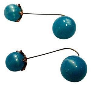 Other New Long Dangle Double Ball Earrings Blue J2955