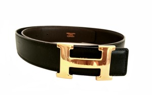 Hermès H Belt in Black and Brown with 18k plated Gold Buckle 70
