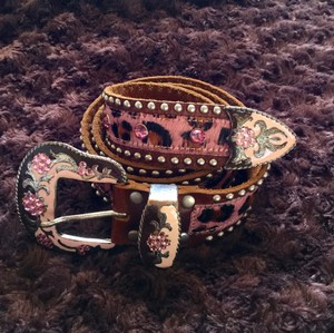 Leatherock sparkle luxe pink pony hair leather crystal studded belt