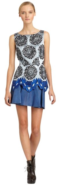 Item - Blue Leather Sleeveless Embroidered Tank Top Mini Cocktail Dress Size 2 (XS)
