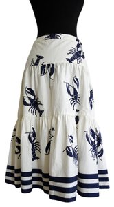 J.Crew Lobster Summer Striped Nautical White Skirt Ivory, Navy