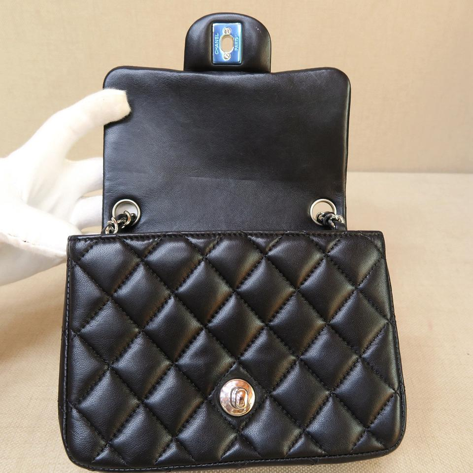 4fe5576b7f2d Chanel Quilted Mini Classic Square Flap(Cf) Black Lambskin Shoulder ...