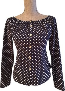 Lauren Ralph Lauren Polka Dot Cotton Size 6 Button-down Spring Break Top Navy and White