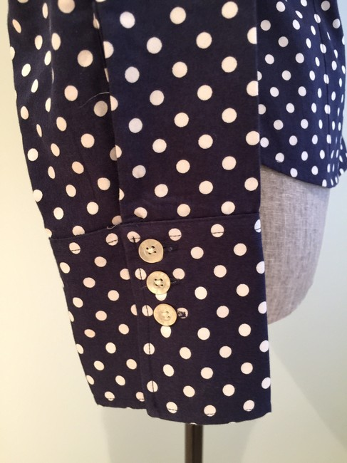 Ralph Lauren Tops Polka Dot Tops Blouses Size 6 Button Down Shirt Navy and White