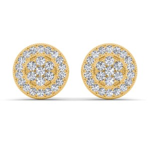 Elizabeth Jewelry 10Kt Yellow Gold Diamond Halo Stud Earrings