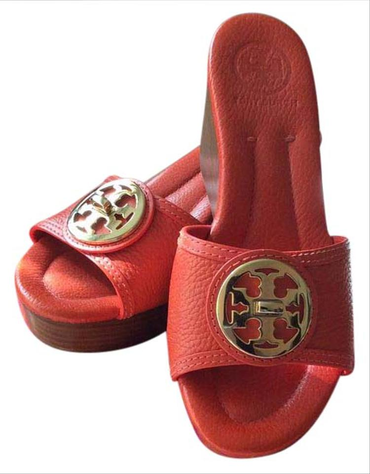12193f46a8be2 Tory Burch Red Orange Wedges Size US 6 Regular (M
