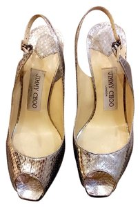 Jimmy Choo Slingback Hidden Platform Gold Heel With Silver Pumps