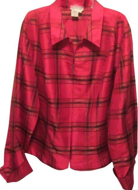 Preload https://item5.tradesy.com/images/coldwater-creek-red-with-plaid-silk-zip-front-blouse-size-12-l-1967799-0-0.jpg?width=400&height=650