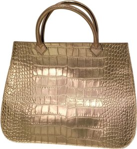 Vivre.com Leather Croc Vivre Tote in Gold
