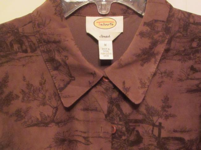 Talbots Top brown with country print
