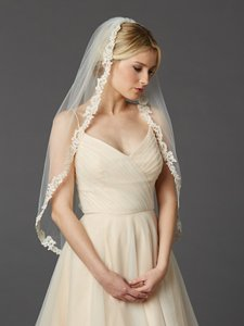 Mariell Rum Pink Medium Fingertip Length Mantilla with Embroidered Lace Edge 4419v-i-rmpk Bridal Veil