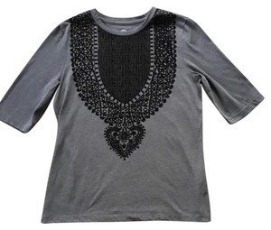 Tory Burch T Shirt Gray with black