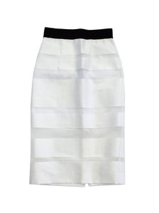 MILLY White Striped Cotton Blend Skirt