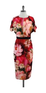 Ted Baker Pink Black Floral Short Sleeve Dress