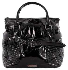 Burberry Patent Leather Tote in Black