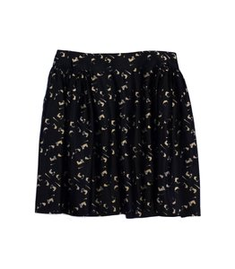 MILLY Black Tan Marbled Silk Skater Skirt