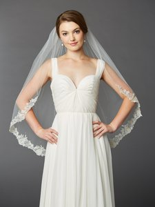 Mariell Ivory Medium One Layer Fingertip Length Mantilla with Silver Lace Edge & Crystals 4414v-i-s Bridal Veil