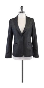 Saks Fifth Avenue Black Grey Plaid Wool Blend Blazer