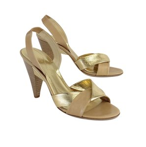 Kate Spade Gold Tan Leather Cone Heels Heels Sandals