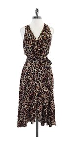 Nicole Miller Animal Print Silk Tie Waist Dress