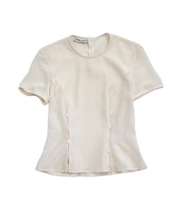 Giorgio Armani Cream Silk Button Pleats Shirt T Shirt