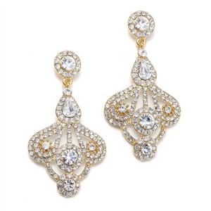 Mariell Gold Art Deco Gatsby Style Rhinstone Fan Earrings