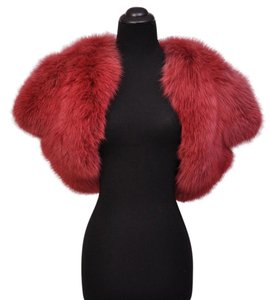 Saint Laurent Fox Bolero Shrug Red Jacket