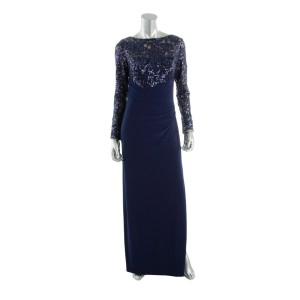 Lauren Ralph Lauren Sequin Slit Longsleeve Full Length Dress