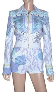 Versace New VERSACE Seashell Print Jacket and Shorts Suit