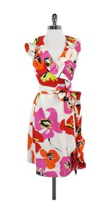 Kate Spade short dress Cream Pink Orange Floral Silk Wrap on Tradesy