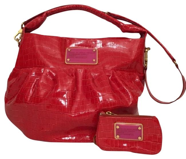 Item - Croc Embossed Red Patent Leather Hobo Bag