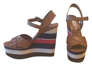 Steve Madden Wedge Striped Bold Stripe Tan with blue, red and white Wedges