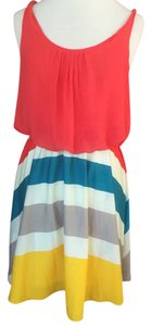 Romeo & Juliet Couture short dress Pink, cream, teal, yellow on Tradesy