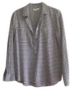 Madewell Button Down Shirt Black white striped