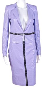 Versace New Versace Floral Embossed Lilac Leather Jacket and Skirt Suit