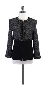 Escada Black Navy Tweed Zip Jacket