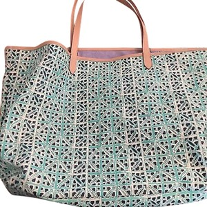Stella & Dot Canvas Tote in Chambray and Mint
