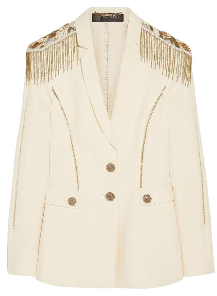 91f751462c3e59 Versace Off-white New Embellished Silk-crepe Military Blazer Size 2 ...