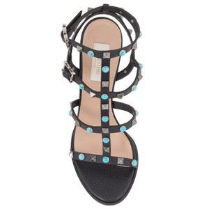 Valentino Rockstud Rolling Leather Black Sandals