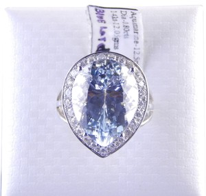 Custom-Made IMPRESSIVE PEAR SHAPE AQUAMARINE RING WITH DIAMONDS AROUND